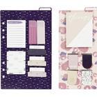 Notis-sortiment och bokmärken, stl. 10,3x22 + 13,8x22 cm, lila, guld, rosa, blommor, 2ark