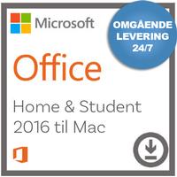Microsoft Office Home and Student 2016 til Mac - Nemsoftware - Modtag produktnøgle med det samme!