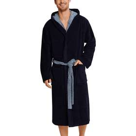 f4d70f626de Schiesser Essentials Velvet and Terry Bathrobe - Darkblue - X-Large