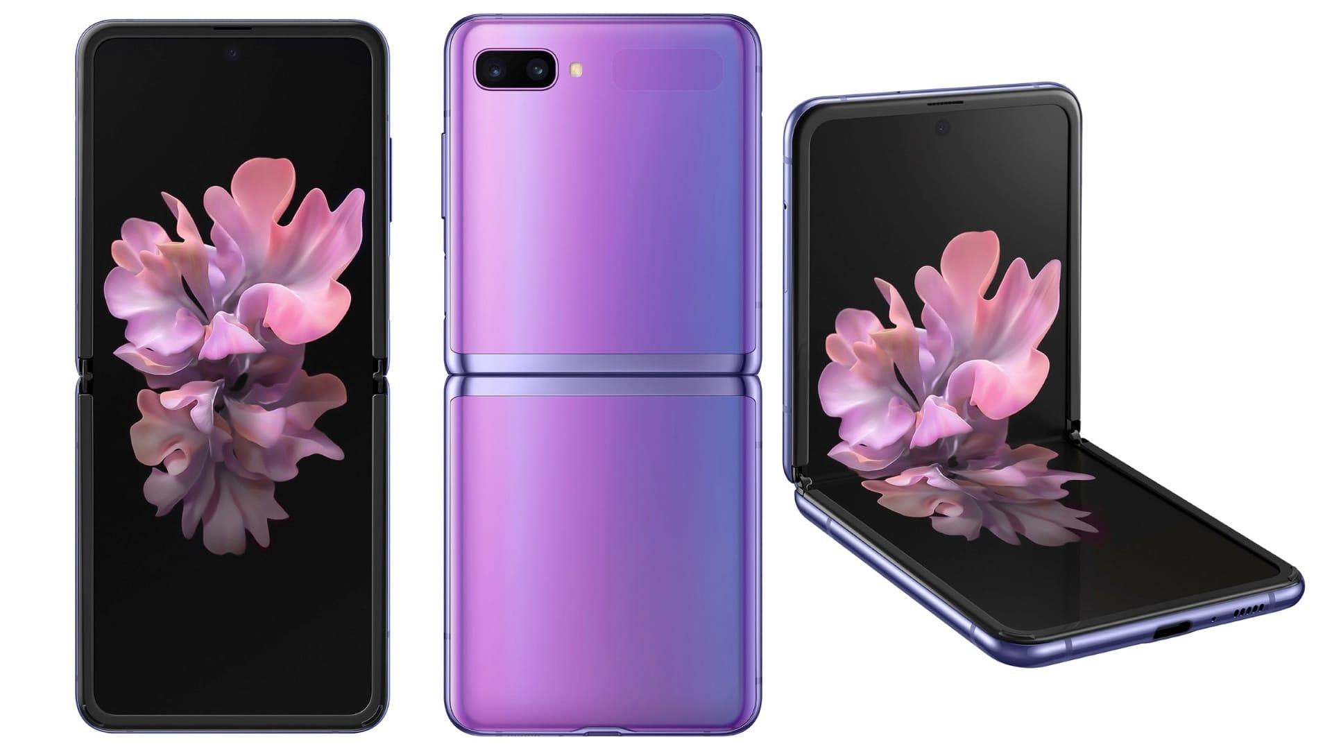 De 3 positioner for Galaxy Z Flip-telefonen
