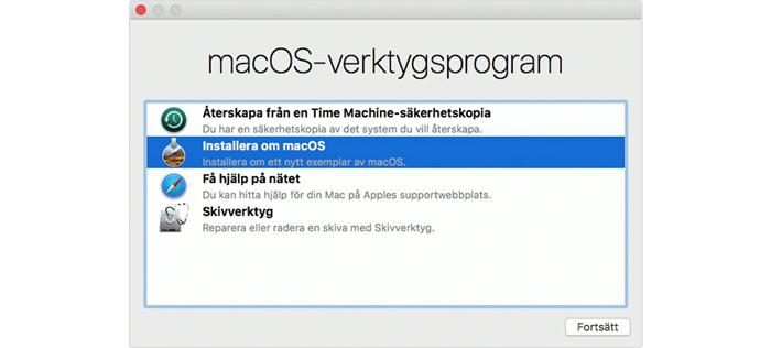 Steg 4 - installera om MacOS