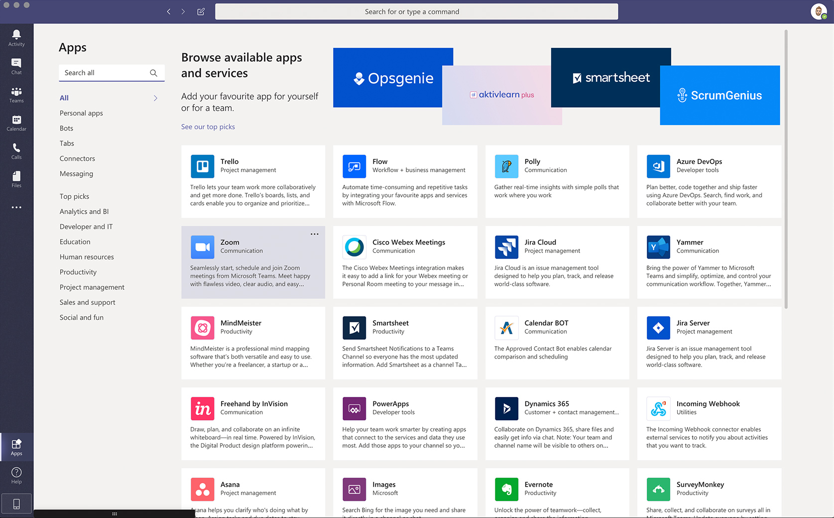 Apps in Microsoft Teams