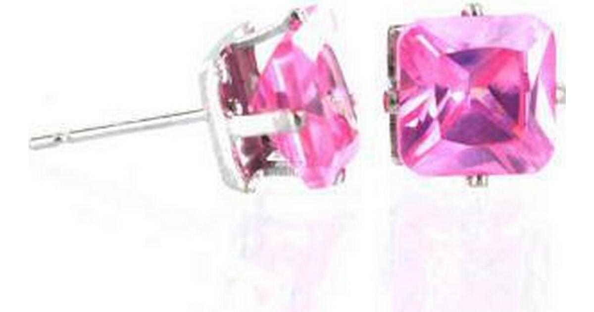 Misterbling All Ice Princess Cut Cubic Zirconia Stud Earrings Pink - 0.4cm  (ER0015-4) - Hitta bästa pris 82cf3aed2b31b