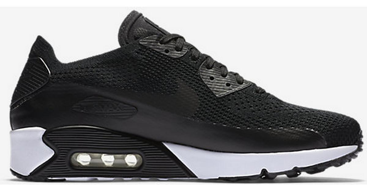 new arrival fe80e 5e22e Nike Air Max 90 Ultra 2.0 Flyknit - Black White - Sammenlign priser hos  PriceRunner