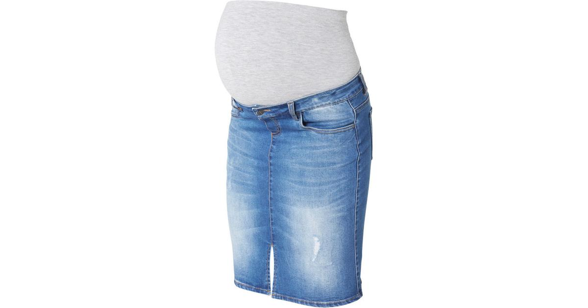 2e47796a096c0 Mama.licious Denim Maternity Skirt Blue/Medium Blue Denim (20006885) -  Sammenlign priser hos PriceRunner
