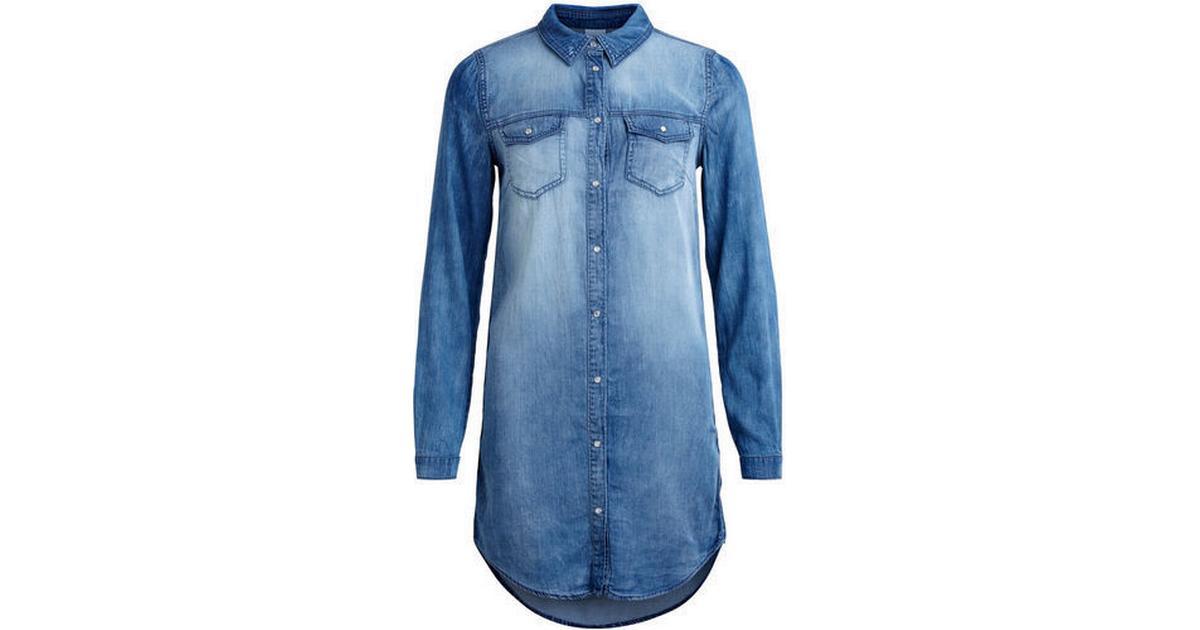 ad180434265 Vila Denim Dress Blue Medium Blue Denim - Sammenlign priser hos PriceRunner