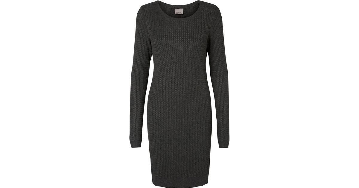 7cdf3516 Vero Moda Knitted Long Sleeved Dress Grey/Dark Grey Melange - Sammenlign  priser hos PriceRunner