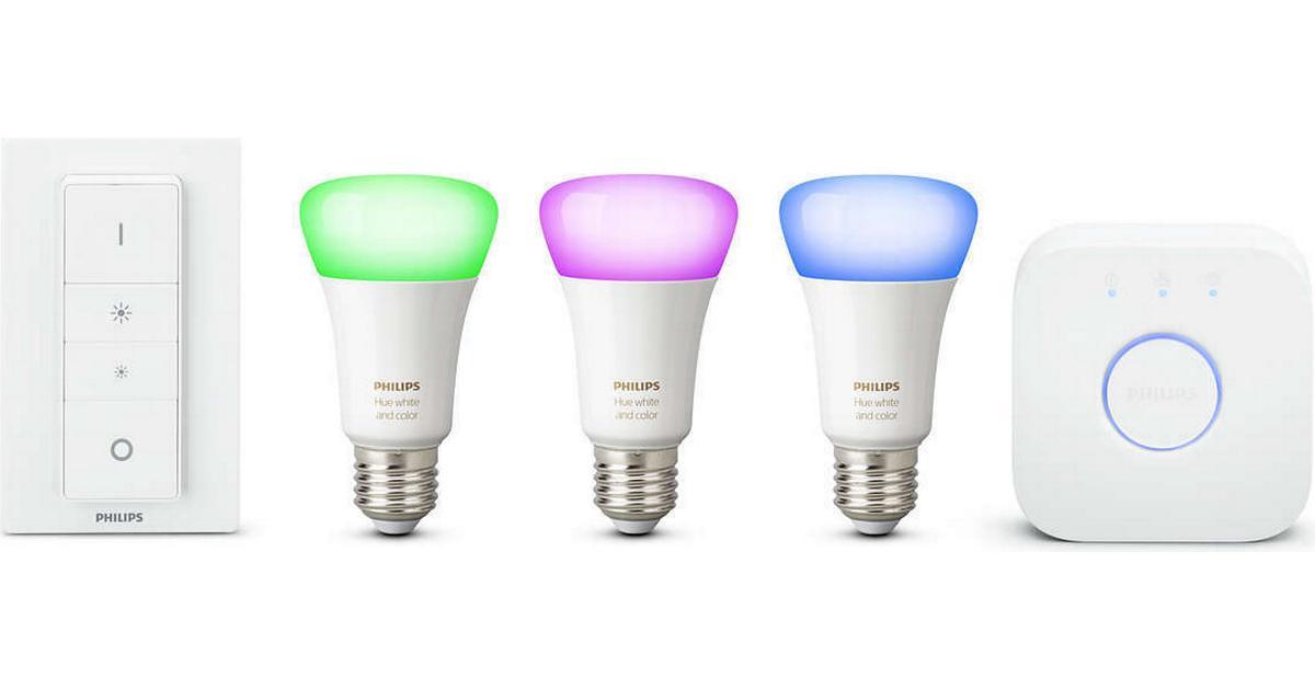 fc76e7091d4 Philips Hue White And Color Ambiance LED Lamp 10W E27 3 Pack Starter Kit -  Sammenlign priser hos PriceRunner