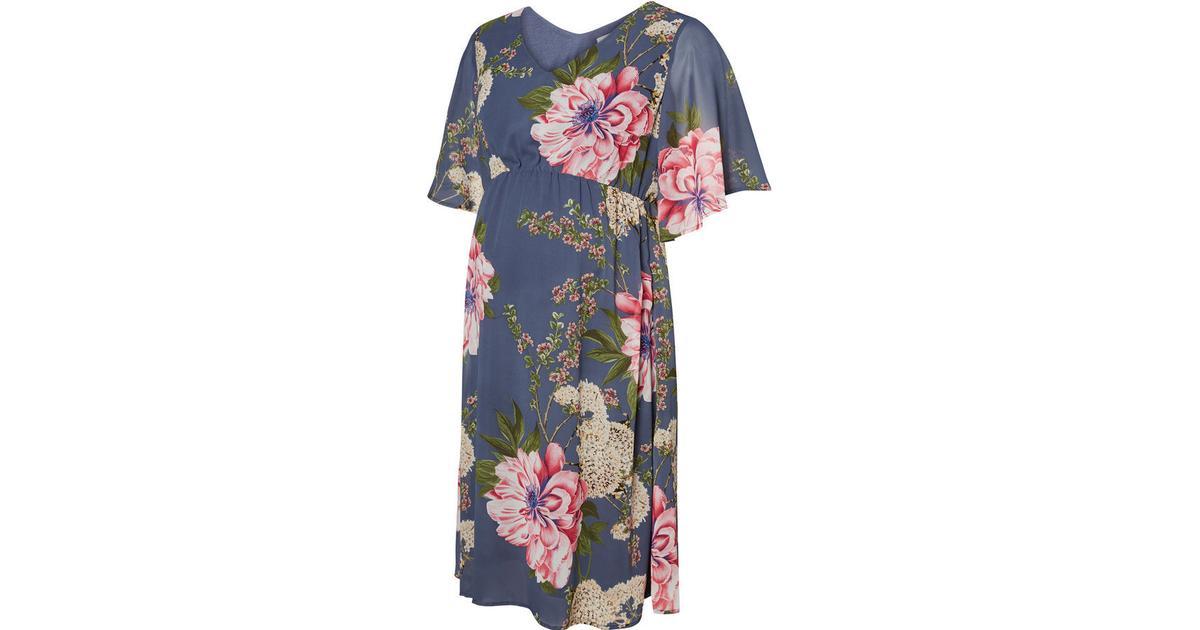 Mama.licious Flower Printed Maternity Dress BlueVintage Indigo (20007225) Sammenlign priser & anmeldelser på PriceRunner Danmark