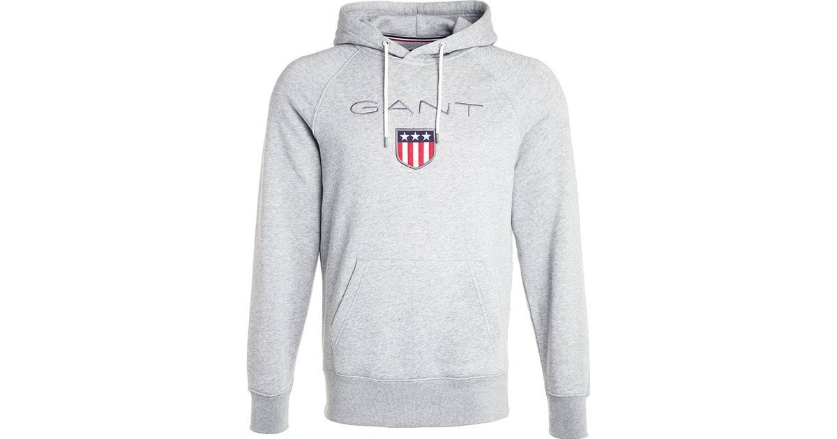 a059afcb Gant Shield Hoodie - Grey Melange - Sammenlign priser hos PriceRunner