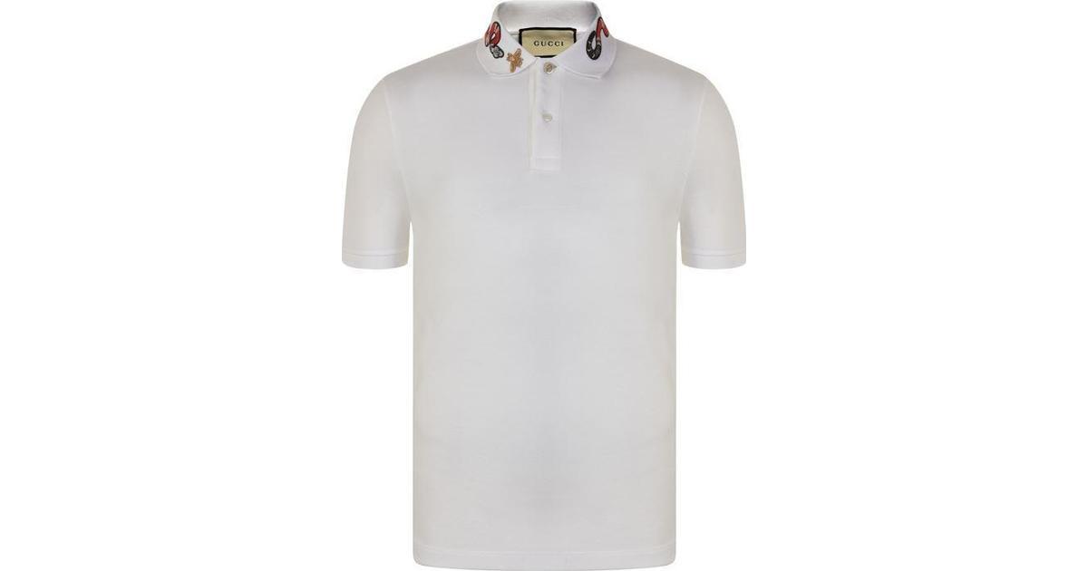 49ff5c9f8 Gucci Kingsnake Embroidery Cotton Polo Shirt White - Sammenlign priser hos  PriceRunner