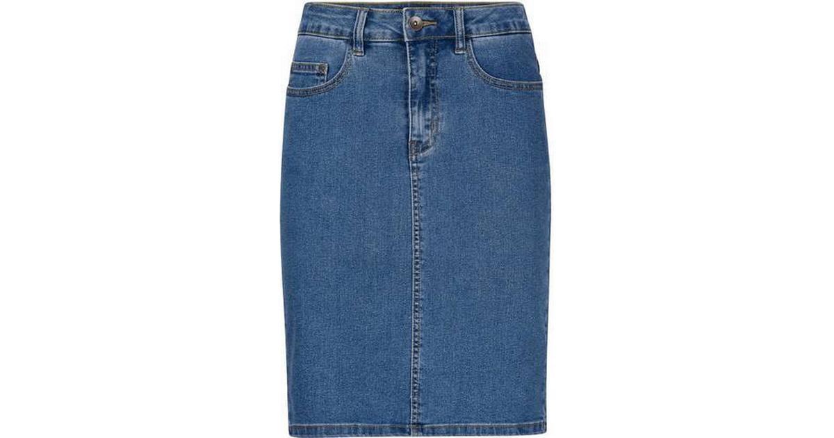 3f772e9a Vero Moda HW Denim Pencil Skirt Blue/Medium Blue Denim - Sammenlign priser  hos PriceRunner
