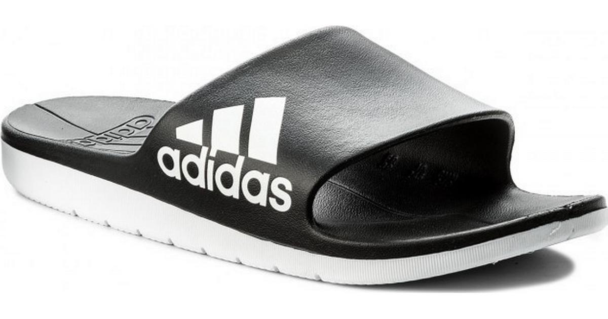 1473306f56e7 Adidas Aqualette Cloudfoam Slides - Black White - Sammenlign priser hos  PriceRunner