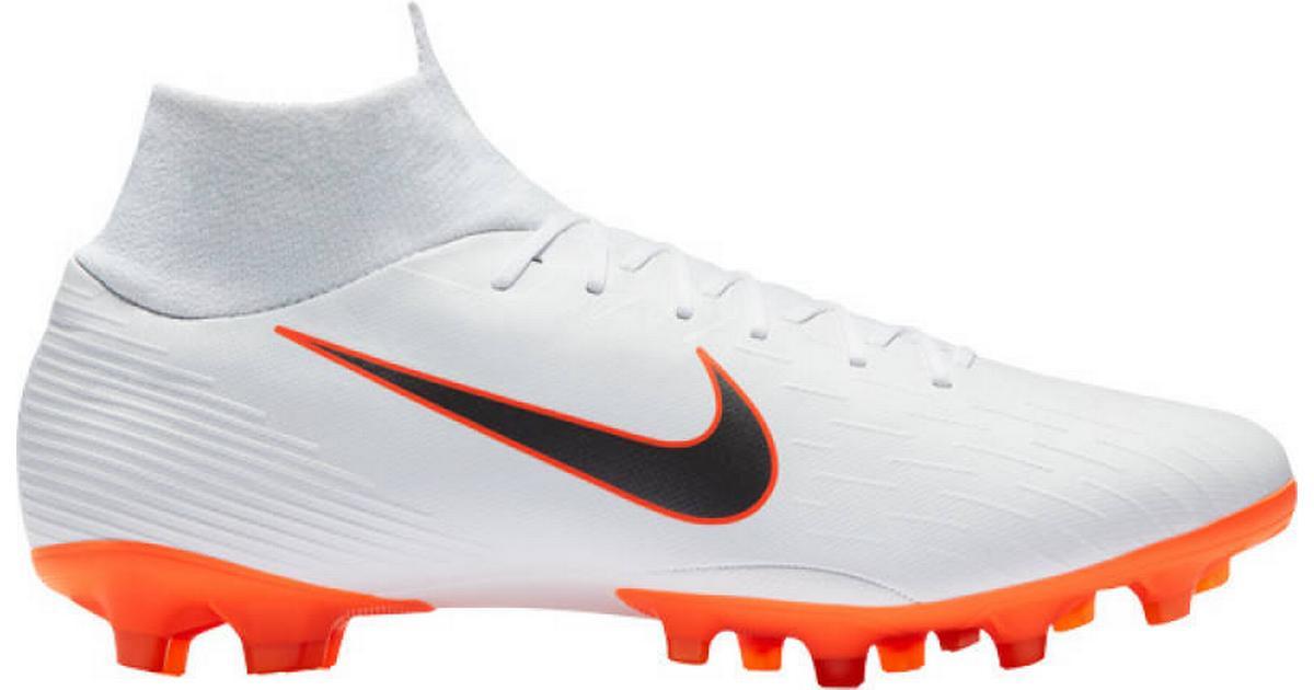 low cost 0ffe2 0be86 Nike Mercurial Superfly VI Pro AG - White/Orange/Grey - Sammenlign priser  hos PriceRunner