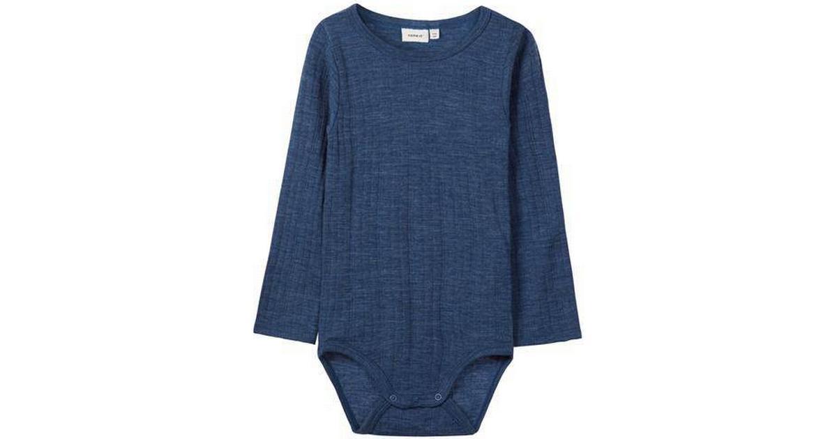 ff1507eaf81 Name It Basis Mini Wool Bodysuit - Blue/Ensign Blue (13152978) - Sammenlign  priser hos PriceRunner