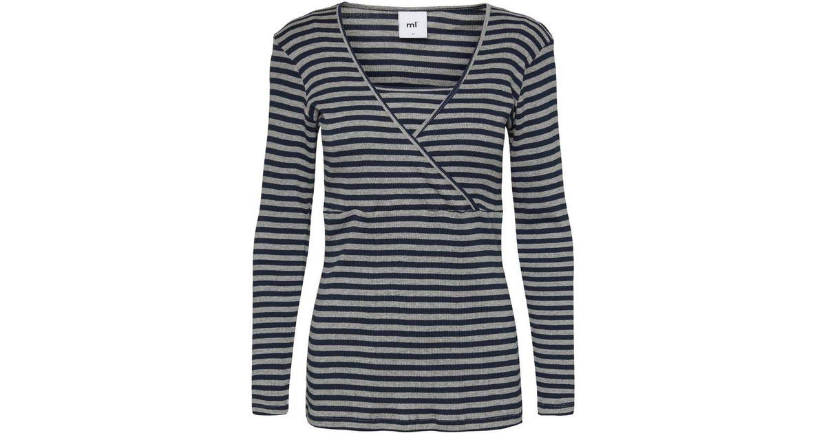 8344778ab08 Mama.licious Striped Rib Nursing Top Long Sleeved Blue/Navy Blazer  (20009298) - Sammenlign priser hos PriceRunner