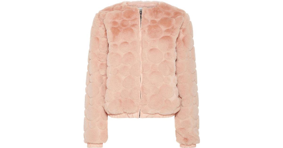 lyserød pels jakke