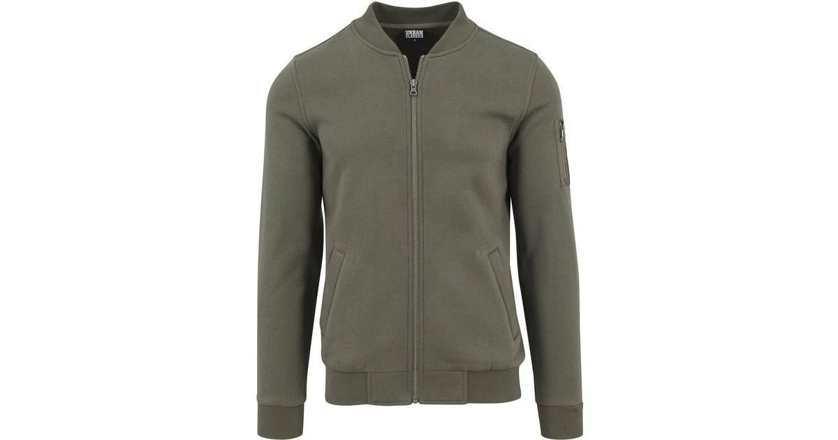 e811d90a Urban Classics Sweat Bomber Jacket - Olive - Sammenlign priser hos  PriceRunner