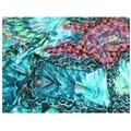Abstract Peacock Print Stretch Lycra Jersey Knit Dress Fabric  Turquoise