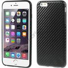 iPhone 6 Plus Cover i TPU-gummi betrukket med kulfiber/PU-læder, Sort