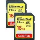 SanDisk Extreme Plus 16 GB SDHC Class 10 Memory Card Twinpack up to 90 Mbps with U3 Ratings