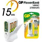 GP PowerBank V800C + 4st AA/LR6 - 2600 mAh