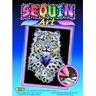 sequin art Snow Leopard Craft