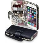 Qubits Apple iPhone 6/6S Premium PU Leather Wallet Case - Black Lily Floral