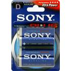 SONY Stamina Plus batterier, LR20 / D, alkaliska, 1,5V, 2-pack