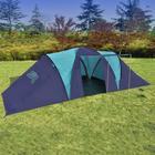 vidaXL Campingtält för 9 personer blå, mörkblå polyester