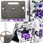 """Gadget Giant Retro Designer Kindle Fire HDX 7-inch Universal 7"""" 7 Inch Tablet Leather Folding Folio Stand Case Cover Pouch With Adjustable Multi Point Stand - Two Purple Flowers Floral"""