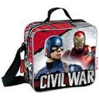 """Marvel Civil War """"Justice"""" Captain America and Iron Man Insulated Cooler Lunch Bag (Red)"""