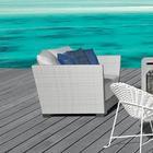 Gervasoni InOut 501 Poly Rattan Lounge Armchair - white/light grey/seat cushion and cushions: fabric G/feet aluminium lacquered/incl. 3 cushions 52x52cm & 2 cushions 67x67cm