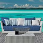 Gervasoni InOut 503 Poly Rattan Outdoor Sofa - white/light grey/blue/seat cushion: fabric Rete blu/feet aluminium lacquered/incl. 5 cushions 52x52cm & 5 cushions 67x67cm