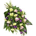 Sorgbukett i grönt och lila