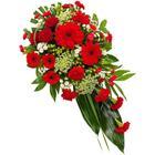 Röd och vit sorgdekoration