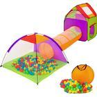 TecTake Børnetelt med tunnel, 200 bolde og taske farvet