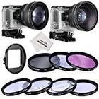 Neewer® 52mm Lens & Filter Kit for Gopro Hero3+/4, Kit includes: (1)52mm 2X Telephoto Lens + (1)52mm 0.45X Wide Angle Lens + (1)52mm Lens Filter Ring Adapter + (3)Filters (UV + CPL+ FLD) + (1)52mm Macro Close-up Filter Set(+1, +2, +4, +10) + (1)Lens Carr
