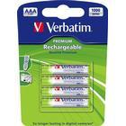 Verbatim laddningsbara batterier, AAA(LR03), Ni-MH, 1000mAh, 1,2V, 4-pack