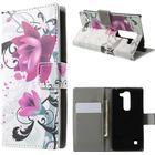 LG Spirit Design Flip Cover m. Stand & Pung - Rose Flower