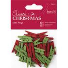 Docrafts Christmas Mini Pegs, Pack of 36, Red/Green