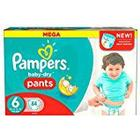 Pampers Baby-Dry Size 6 Extra Large (16 + kg) Nappies - Mega Pack, X64 Coats