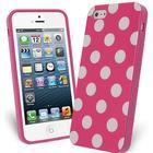 OEM FlexiCase Skal till Apple iPhone 5/5S/SE - Polkadots (Hot Pink)