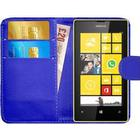 Nokia Lumia 520 Leather Style Flip Wallet Cover Phone Case - BLUE