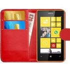 Nokia Lumia 520 Leather Style Flip Wallet Cover Phone Case - RED