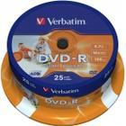 Verbatim DVD-R 4.7GB 16x Spindle 25-Pack Wide Inkjet