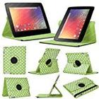 Stuff4 MR-NX10-L360-PD-GW-STY-SP Polka Dot Designed Leather Smart Case with 360 Degree Rotating Swivel Action and Free Screen Protector/Stylus Touch Pen for 10 inch Google Nexus 10 - Green/White