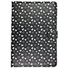 Trendz Universal PU Patterned Leather Folio Tablet Case Cover with Secure Closing Clasp Compatible with 9-10 inch Tablets - Hearts/Black