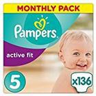 Pampers Premium Protection Active Fit Nappies, Monthly Saving Pack - Size 5, 136 Nappies