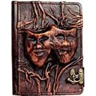 A little Present Embossed Happy Sad Drama Mask On A Vintage Leather Cover Case for Kindle 3/Kindle Keyboard/Kindle/Kindle HDX